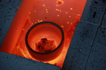 Ceramic pot in a kiln