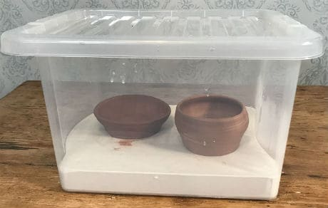 A Damp box can help prevent pottery clay from cracking