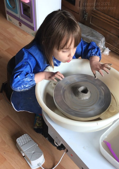 You can use air dry clay on a pottery wheel