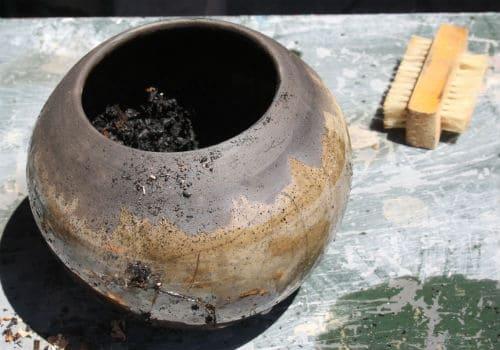 Nailbrush to help clean raku pottery
