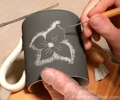 how to do sgraffito pottery with bisqueware