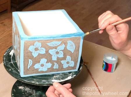 making sgraffito with underglaze