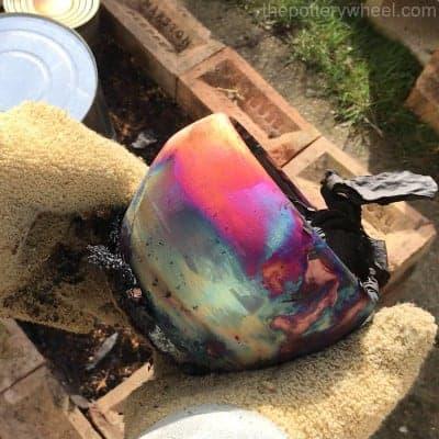 glazed copper matte raku